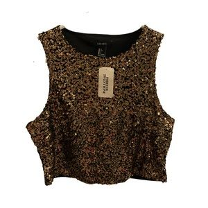 FOREVER21 Festive Sequin Gold/Black Crop Top!